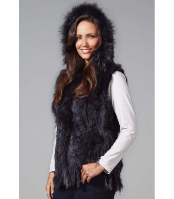HOODED FUR GILET